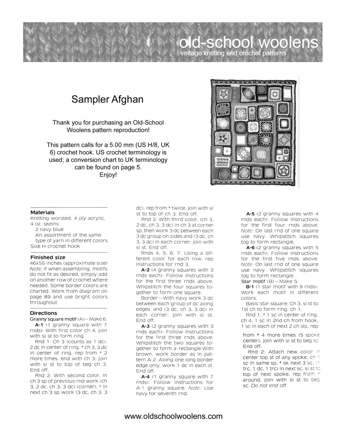 Granny square afghan pdf instant download vintage crochet pattern this is a digital file nvjuhfo Image collections