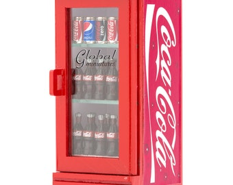 Dollhouse Miniatures Coca Cola Single Door Beverage Cooler Fridge Kit Handcrafted Groceries Decorating Collectibles Supply