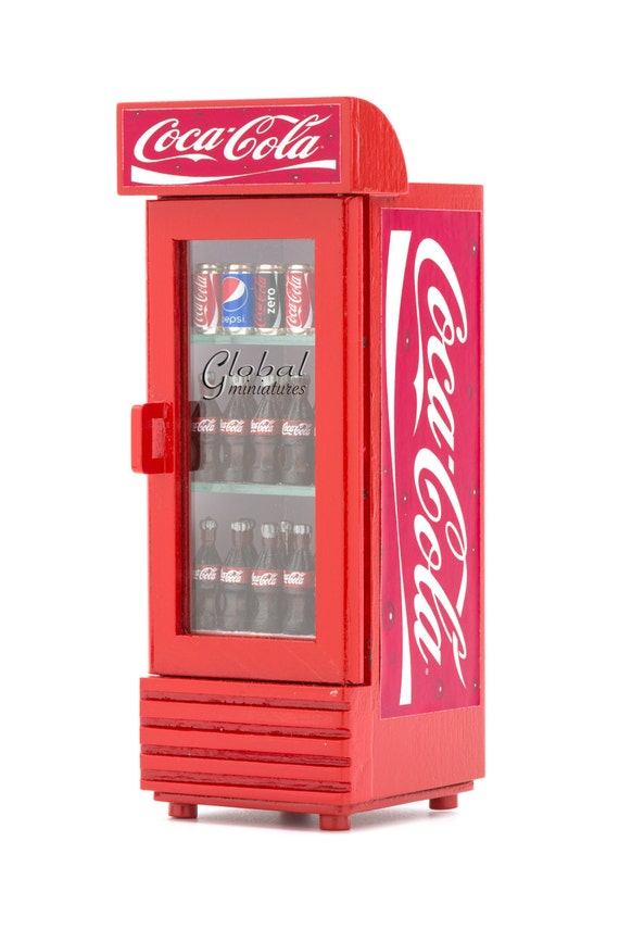 Dollhouse miniatures coca cola single door beverage cooler for 1 door retro coke cooler