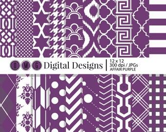 Purple Digital Scrapbook Paper, Digital Scrapbooking Paper, Decorative Paper, Digital Paper Packs, Digital Paper, Scrapbook Paper Packs