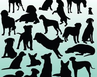 20 Dog Silhouette Digital Clipart Images, Clipart Design Elements, Instant Download, Black Silhouette Clip art