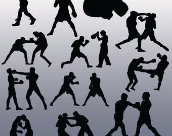 12 Boxing Silhouette Images, Digital Clipart Images, Clipart Design Elements, Instant Download, Black Silhouette Clip art