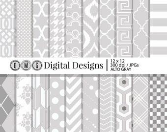 Light Gray Paper, Gray Alto Digital Scrapbook Paper, Decorative Paper, Digital Paper Pack, Digital Paper, Scrapbook Paper
