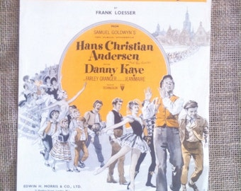 Vintage Sheet Music. For Piano and Voice. Song. Wonderful Copenhagen from Hans Christian Anderson. 1951 Musical Film. Artwork