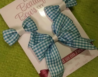 Gingham School Hair bow Set (Blue )