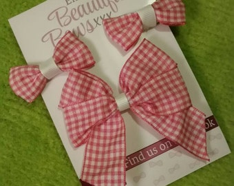 Gingham School Hair bow Set ( Pink )