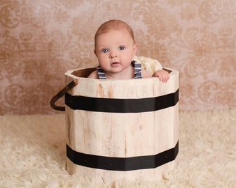 Newborn Photography Prop Wooden Bucket Cream