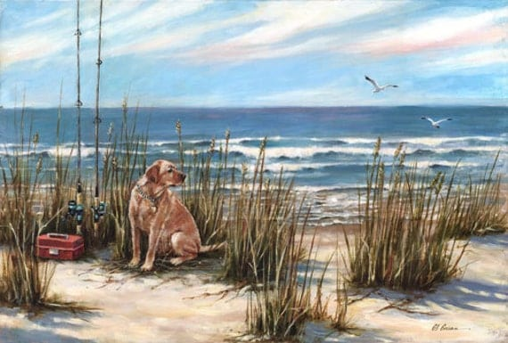 "Salty Dog by Carol Ann Curran - Fine Art Print - Double Matted to 16"" x 20"" (Image Size 11"" x 14"") - golden retriever"