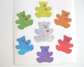 Sandylion Classic Rainbow Teddy Bear Sparkly stickers - 3 squares repeats
