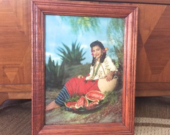 1957 framed photographic print of Nogales Mexican woman with watermelon