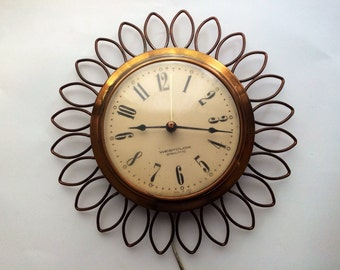 Westclox Sunburst Midcentury Modern Frill Electric wall clock, Starbust Clock Home decor