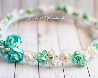 Mint Flower Crown, Floral headband, Flower headband, Flower headpiece, Floral crown,  Bridal mint flower crown