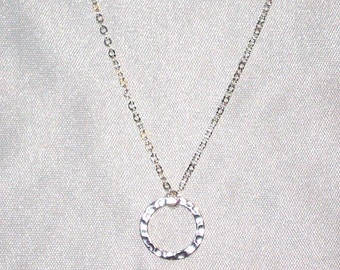 SALE 8.00  * Delicate Hammered SILVER RING Necklace * Minimal, Simple * Dainty * Great for Layering * Sterling Silver * Reg 18.00