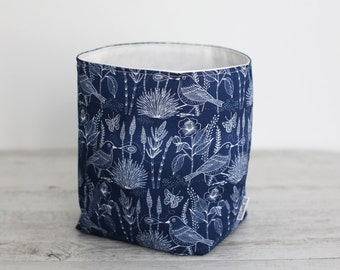 Large reversible fabric storage basket - inky blue with birds