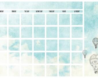 Hot air balloon dry erase wall calendar