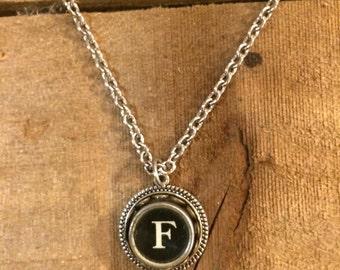 Typewriter Key Necklace, Vintage,  Letter F