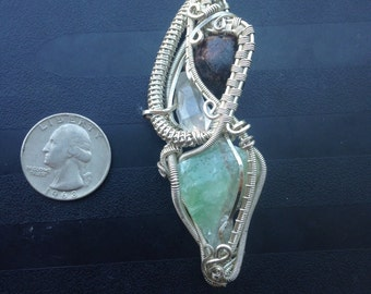 Three stone handmade sterling silver wire wrap