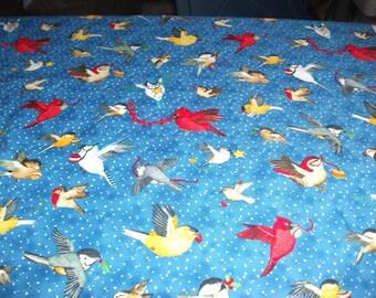 Birds on Blue Back Round Cotton Fabric