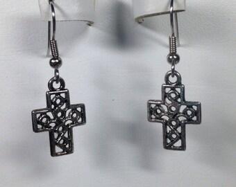 Pewter Cross Charm Earrings -PE021