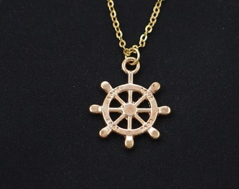 nautical steering wheel necklace, long necklace option, gold helm charm on gold plated chain, captain's wheel, ship's steering wheel pendant