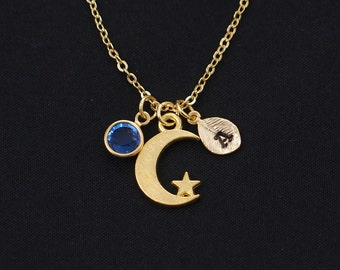 initial necklace, moon necklace, birthstone necklace, tiny gold moon with star, everyday jewelry, crescent moon pendant, celestial jewelry