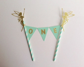 Tinkerbell Fairy 1st Birthday Bunting Cake Topper mint and gold