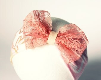 Baby jersey headband - Pink bow headband - Newborn soft head wrap  - Infant headband - Baby girls Lace bow headband