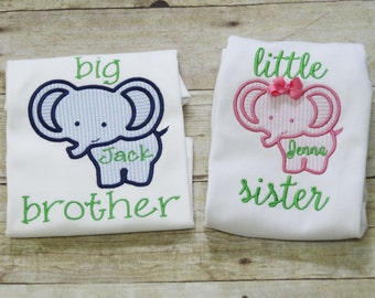 Personalized Big Brother Little Sister Shirt/Bodysuit/Infant Gown/Romper with Elephant & Name - Brother Sister Sibling Set - Elephant Shirt