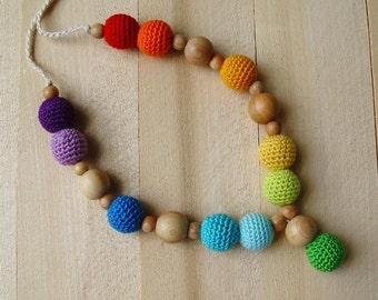 Nursing necklace - Breastfeeding Babywearing crochet necklace Teething crochet necklace Rainbow Juniper wooden beads Toddler gift Ring sling
