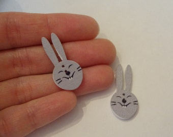 2 pcs funny rabbit heads wooden buttons 20x30x2.5mm scrapbook children crafts two holes