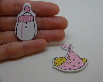 2 pcs new baby wooden buttons pink scrapbook children crafts two holes