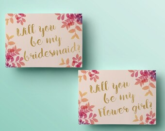Printable will you be my bridesmaid card watercolor will you printable will you be my bridesmaid card floral will you be my maid of honor template pronofoot35fo Image collections