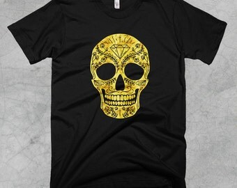 Golden Sugar Skull T-Shirt - FREE SHIPPING on all US orders