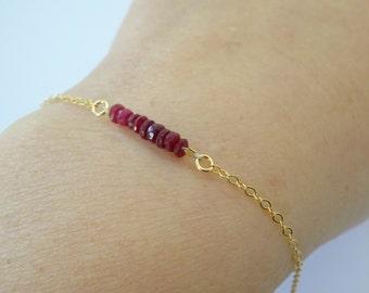 Genuine RUBY July Birthstone Mini Gem Bar Bracelet stacking bracelet 14k gold fill or Sterling Silver Bridesmaid bracelet Gift ideas for her