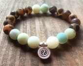 Stackable Mala Inspired Matte Amazonite + Dzi Agate Yoga Bracelet with Karen Hill Tribe 925 Yin Yang Charm