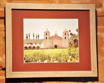 "Framed Photography of the Santa Barbara Mission, ""Santa Barbara Mission"", matted and framed, California art"