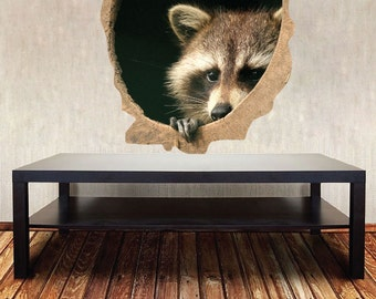 Raccoon Wall Decal Mural, Kid's Room Raccoon Wall Decal, Nursery Raccoon Wall Decal, Raccoon Wall Sticker Design, Rustic Raccoon Decal, a39