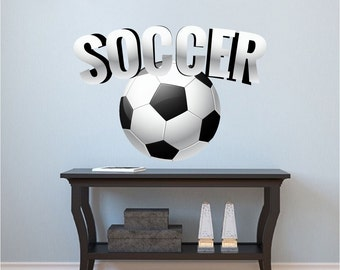soccer art sticker soccer art design soccer wall mural soccer wall decal - Wall Art Design Decals