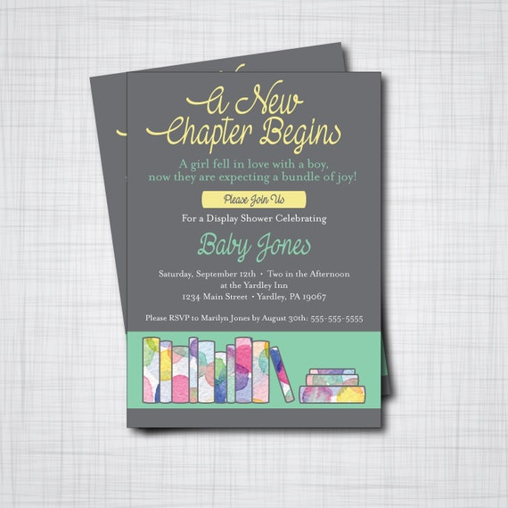 A New Chapter Begins Baby Shower Invitation CUSTOMIZABLE