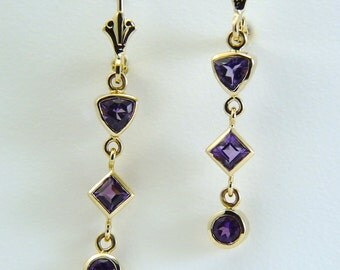 Amethyst earrings, Purple drop earrings, Purple stone earrings, faceted Amethyst earrings, yellow gold earrings, Amethyst drop gold earrings