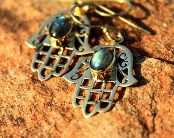 Hamsa Hand of Fatima Gemstone Brass Earring