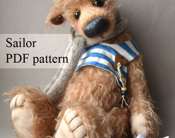 PDF Teddy bear pattern, 15 inches (38 cm) - Sailor + vest