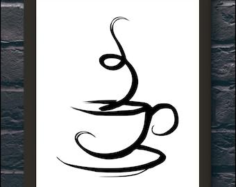 Tea cup kitchen poster Black and White art Wall Art Home decor Printable Art Digital Print Wall Print Gift