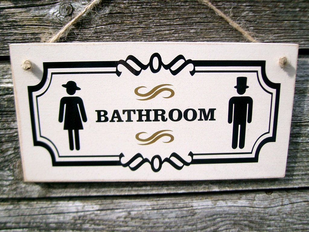 Bathroom Door Sign With Vintage Male Female Symbols