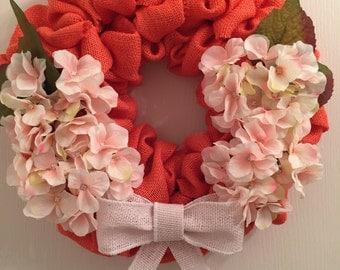 Coral burlap pale pink hydrangea wreath