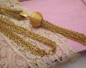Vintage Tassel necklace, chunky necklace, multi chain, Ball and chain, gold tone necklace, sophisticated necklace, office wear,  9G5