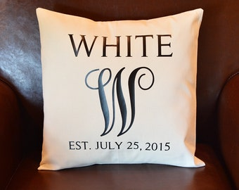 Custom Last Name Pillow, Personalized Wedding Date Pillow, Personalized Gift