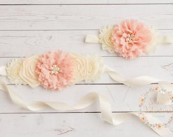 Rustic flower girl sash,blush burlap sash,flower girl sash, baby headbands,bridal wedding sash,flower girl headband ,country wedding sash.