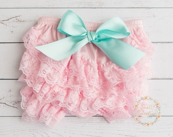 Pink Baby Lace Bloomer CHOOSE COLOR, baby diaper cover - Lace ruffle diaper cover baby bloomer, baby lace diaper cover, Ivory diaper cover.