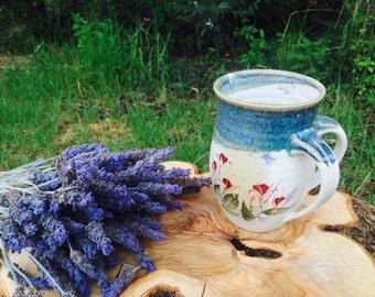 Ceramic Natla, Judaica,Large Colorful Natla,Floral Ceramic Washing Cup, Netillat Yadayim Cup, Gift, Handmade ceramic art